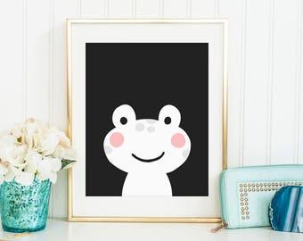 Sale 50% Off - Cute Baby Frog Poster kawaii Instant Download Printable art Kids animal illustration baby room print nursery children poster