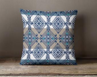 Blue Kilim Print Pillow