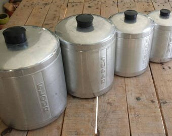 Set of 4 1960's Aluminum Canisters for Flour, Sugar, Coffee, and Tea