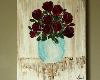 Vase of Deep Red Roses