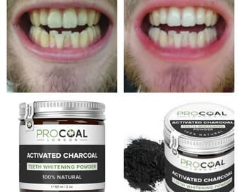 Activated charcoal teeth whitening powder 100% natural vegan 60ml