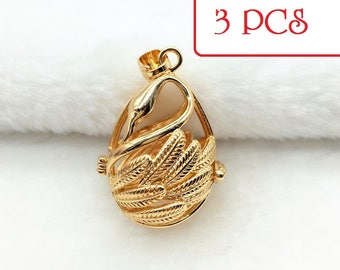 Bulk of 3pcs - Cages pendant SWAN GOLD Silver Locket for Akoya pearl