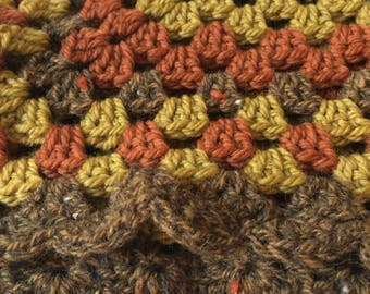Crochet Baby Blanket, softest wool. 'Autumn' granny square
