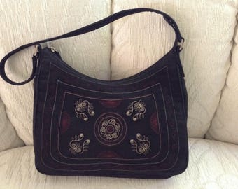 Liz Claiborne Embriodered Black Shoulder Bag With Studs
