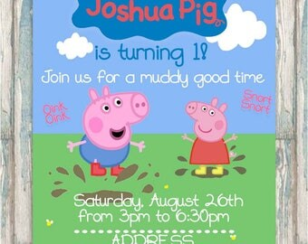George Pig Invite - Peppa Pig Gender Neutral Birthday Invitation - Jumping in Muddy Puddles - ANY AGE - Boy invite - Girl invite