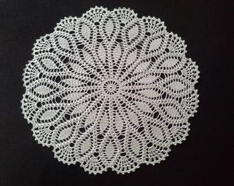 Crochet doily - Round doilies - Large doily - Silver with metallic doily - Home decor - Crochet doilies