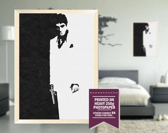 Scarface poster, fan art, scarface print, Scarface art, pencil design, cool posters, scarface fan art, cool GIFTS, scarface, great posters