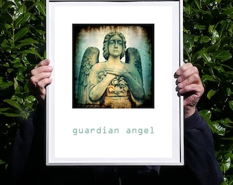 Guardian Angel, fine art photography, still life, wall art, large, digital download, photograph, statue, wings, poster, quote, spiritual