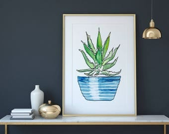 Watercolor Aloe Plant Print, Art Print, Wall Art, Botanical Print, Printable, Room Decor, Instant Digital Download