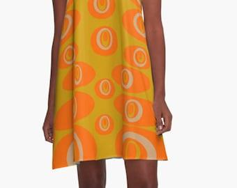 Summer Dress, Womens Gift, Dress, Party Dress, Retro Dress, XL Dress, Retro, Mini Dress, Mod Dress, Orange Dress, Casual Dress