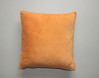Orange faux fur pillow cover