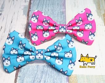 Husky Face / Malamute / Hot Pink / Blue / Bow Tie / Cat/ Dog / Bowtie / Canvas / Handmade