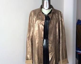 Vintage leather jacket reversible 90 bronze/nude. Size M/L