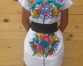 Dress Mexicano.Huipil Mexicano.Bordado only. GIRL - medium size