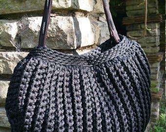 Handmade/Black/Dark Brown/Crochet/Knitted/ Rope/Original and Elegant Bag with Genuine Leather Handles