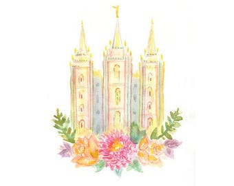 Springtime LDS Salt Lake City Temple Print