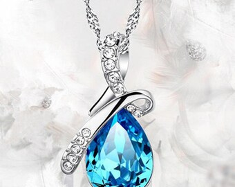 Chain and Crystal Teardrop Pendant