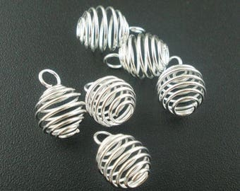 Spiral Cage bead/stone pendants