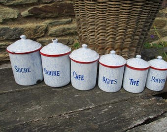 French Vintage Enamel Graduated Set Of Kitchen Canisters.Shabby Chic.French  Country Decor.