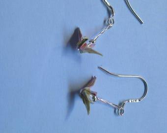 Sterling Silver Origami crane earrings