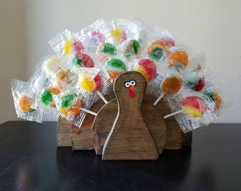 Wooden Thanksgiving Turkey Lollipop Holder - Thanksgiving Centerpiece - Thanksgiving Countdown - Thanksgiving Kid Table