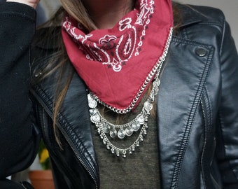 Red Bandana with Silver Chain