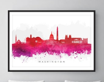 Washington DC Skyline, Cityscape Art Print, Wall Art, Watercolor, Watercolour Art Decor