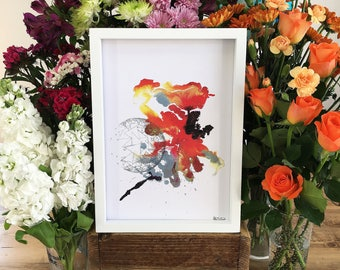 ColourSplash 3, A4 Art Print on 100% Recycled Card, Hand Painted