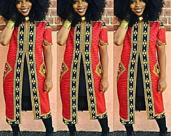 Sandra African print top, African Clothing, slitted top Ankara jacket, Women's clothing.