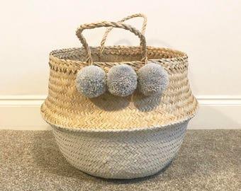 Grey pom pom planter / storage basket (large)