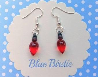 Red christmas tree light earrings Christmas jewelry Christmas earrings holiday jewelry dangle earrings Christmas gifts stocking filler