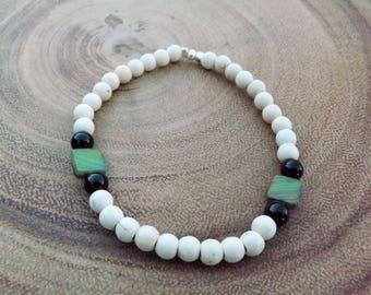Magnesite, Onyx & Czech Beaded Bracelet