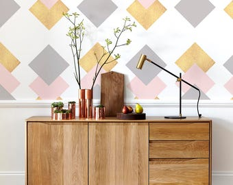 Gold Squares  - Modern Wallpaper -  Minimalistic - Removable Wallpaper - Wall Decor - Wall Covering - Wall Decal - Wall Mural -Sticker- 105