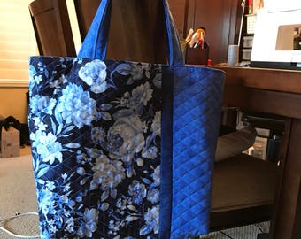 Blue flower quilted tote, diaper bag