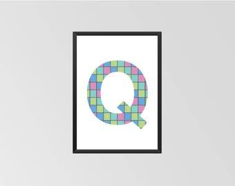 The letter Q - Print (Quilt)