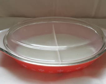 1950s Red Snowflake Pyrex Divided Dish
