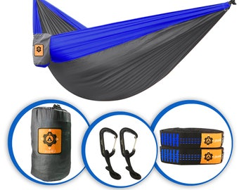Gear4U: Two Person, (Blue) Double Camping Hammock with Heavy Duty Tree Straps/Parachute Nylon Hammock/Travel Hammock