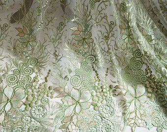 """1 Yard Bridal Venice Lace Fabric Black Tulle Floral Exquisite Alice Embroidered Wedding Bridal 51"""" width"""