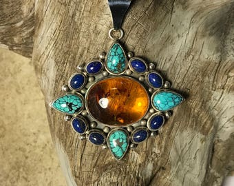 Baltic Amber with Turquoise & Lapis Lazuli Sterling Silver Pendant