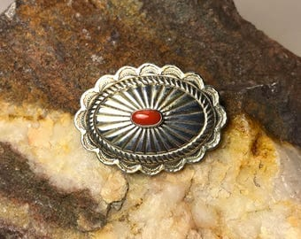 Vintage Navajo Red Coral and Sterling Silver Concho Pin