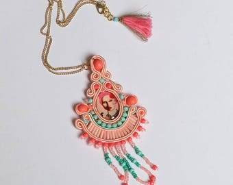 Soutache jewelry necklaces boho jewelry necklace colorful fashion pendant