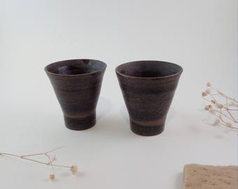 Two handmade stoneware cups made by Franzi.