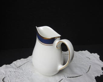 Wedgwood Bone China Small Creamer Blue and Gold Trim England
