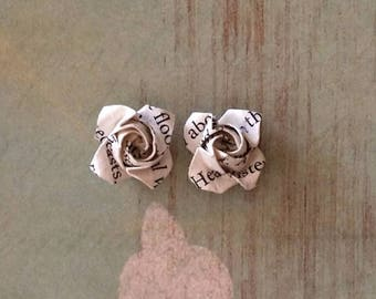 Rose Earrings -Studs Posts - Origami Roses-Origami Jewellery-Anniversary Gift-Recycled paper