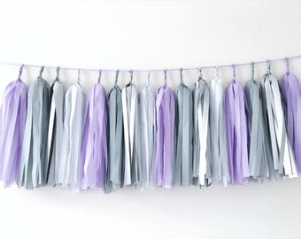 Lavender Gray Silver Tissue Paper Tassel Garland Wedding Banner Backdrop Balloon Tail Purple Gray Shower Wall Decorations Engagement Decor