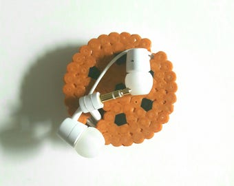 Headphones - Cookies drum / Roller for earphones - Cookies pixel art beads
