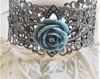 Bohemian Blue Rose Vintage Cuff