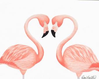 """Original Flamingo Heart 7""""x10"""" Watercolor Painting"""