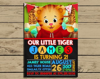 Daniel Tiger Invitation - Daniel Tiger Birthday Party Invite - Daniel Tiger's Neighborhood Chalkboard Invitation - YOU PRINT