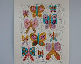 Original, One-of-a-kind Watercolour Art, A4 artwork, Watercolour Butterflies, Floral Butterflies